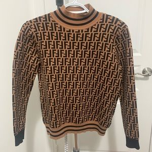 Monogram Long Sleeves High-Neck Sweater